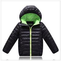 Wholesale 2016 Black Children s Outwear Boys Down Jacket Solid Hooded Coat Kids Parkas Kids Cotton padded jacket