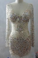 Tulle V cuello de cristal con cuentas vestido de fiesta con mangas largas 2017 corto vestido de fiesta de baile elegante
