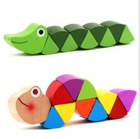 Wholesale New Wooden Crocodile Caterpillars Toys Baby Kids Educational Colours Gift Decoration A5