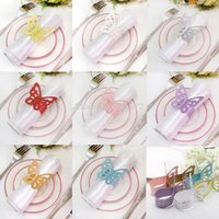 Wholesale of Metallic Butterfly Paper Napkin Ring Wrap Weddings Party Home Decoration Table Decoration