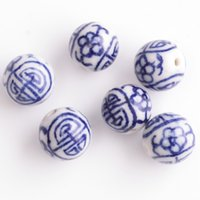 Wholesale 150pcs mm Round China Blue and White Hand Painted Ceramic Porcelain Handcraft Spacer Loose Beads Fit Necklace Bracelet Making DH CH092