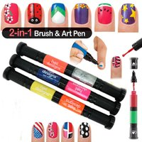 Wholesale 6 colors x D Nail Art Pens Fashion UV Gel Acrylic Colour Paint Polish Create Manicure
