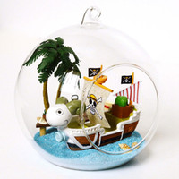 Wholesale DIY Wooden One Piece Pirate Ship Sailboat D Miniature Toy Doll House Voice Control LED Light Glass Ball Kids Educational Toy