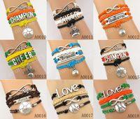 baseball gift wrap - Anchor Love Baseball Charm Wrap Bracelets Softball Pendants Bracelets Sport Bracelets Leather Black Wax Unisex Women Fashion Gift Custom