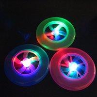 Wholesale LED Luminous Frisbee UFO lights rotating flywheel Flashing Frisbee Toys Christmas GLowing light children Kids Toy