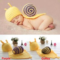 Cheap NEW Snails Toddler Boy Girl Baby Beanie Costume Animal Hats Caps Sets Taking Photo Photography Props Knit Crochet B26 SV007046