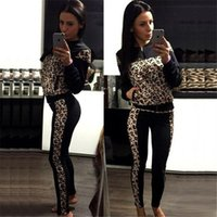 big motorcycle clothing - Women Fashion leopard tracksuits jogging suits Sportswear Big Girls printed Pants lady clothes set
