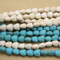 Bead Caps Fashion Beads Approx.52pcs Strand 0.8cm*0.8cm Heart Seed Beads Blue White Turquoise Beads Loose Stone F1287