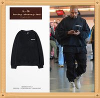 Wholesale KANYE WEST letter with paragraph DON DA high street hip hop round neck sweater male fear of god yeezus S XL