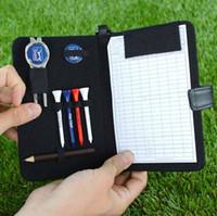 Wholesale New Black Leather Golf Organiser Scorecard Pencil Marker Tees Divot Tool Set Kit Golf XMS Gif game prizes