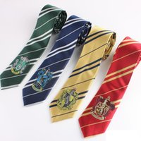 Wholesale Harry Potter Tie Designs Harry Potter Striped Necktie Harry Potter Gryffindor Badge Slytherin Ravenclaw Hufflepuff Ties Pieces FedEx