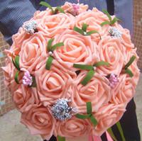 Wholesale Cheap Wedding Bridal Bouquets with Handmade Flowers Mix Rose Wedding Supplies Bride Holding Brooch Bouquet
