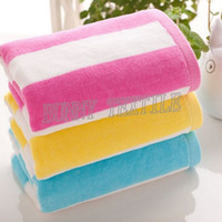 Wholesale 32S Striped Pattern Jacquard Face Towel x74cm Bright Beach Towel For Travel