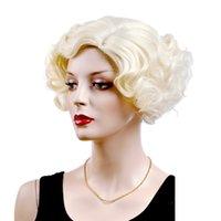 fiber hair - Female Glamorous Charming fashion short gold wave100 Kanekalon Fiber Synthetic women Wig Hair High quality fashion lady Wig Hair H9338Z