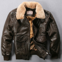avirex flight jacket - Fall Avirex Flight JACKETS Men s Deep Brown GENUINE LEATHER Coats With Fur Collar Short Winter Sheepskin Suede Coats Motorcycle Suits