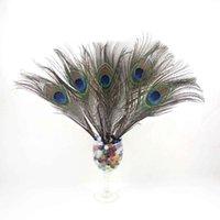 Wholesale 100 Peacock Feathers quot quot cm cm Beautiful Style for Hat Decor Wedding Chrismas Party Home DIY