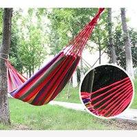 Cheap Thick canvas hammock outdoor camping single bed indoor Holiday Travel Products swing send tying pouch