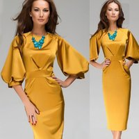 Wholesale 2015 New Fashion Women Work Wear Ladies Lantern Sleeve Yellow Solid Color Office Dress Vintage Bodycon Midi Sexy Dress D31842W
