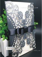 Wholesale New Arrivaa Elagant Formal Black HolloW Lace Wedding Invitation Cards Tiered Ribbon Bow Fashion Customsize Wedding Invitations