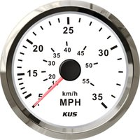 Wholesale 85mm speedometer white faceplate silver stainless steel bezel speedo MPH KY18102 for car truck boat yacht