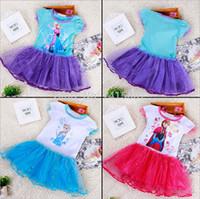 Wholesale Girls Summer Dress Elsa Ana Frozen Dress Princess New Cartoon Print Baby Girls Casual Dressess For Years Party Baby Kids