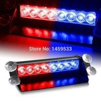 Wholesale 8 LED Car Deck Dash Strobe Flash Warning Light Emergency Lamp Red Blue V DC