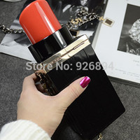 personalized bags - Personalized fashion vintage sexy red lipstick acrylic bottle party clutch purse evening bag ladies handbag phone shoulder bag