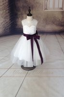 baby minnie pictures - 2015 Special Offer Real Baby Minnie Lace Flower Girl Dress flower Girls Dresses with Eggplant Sash And Bow Halloween Easter Birthday Clothes