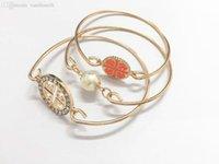Wholesale Gold Plated Vintage Bracelet Gift Pearl pc Set Bracelet Bangel For Women