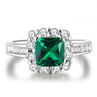 Wholesale White Gold plated Emerald rings for women Engagement Green CZ Diamond jewelry Finger Wedding classic Jewelry MSR188