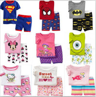 kids clothing - Free DHL Kids Cartoon Summer Set Short Sleeve Pajama Set Baby Boys Superman Pajamas Batman Sleepwear Kids Short Clothes Set