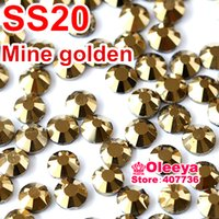 Wholesale SS20 mm Bag Aurum Hematite Gold DMC HotFix FlatBack loose Rhinestones machine cut iron on crystals stones Y0192