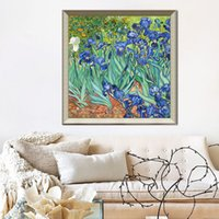 bedroom original paintings - Van Gogh Irises original decorative painting bedroom bed living room dining hallway mural paintings of European plants and flowe
