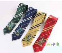 Wholesale Harry Potter Four Academy With embroidery Badge Tie Harry Potter Tie cosplay gift colours