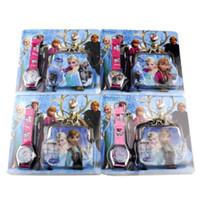 Wholesale Children Girls Frozen Anna Elsa Sets Watch and Wallet Purse Kids Fashion Quartz Cartoon Candy Cute Lovely Boy Girl