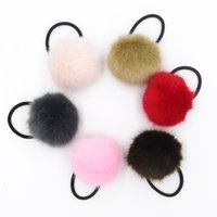 Wholesale Elastic Hair Ties Fluffy Pom Pom Ponytail Holders Rubber Hair Bands elastics Childrens hair accesiories Headdress