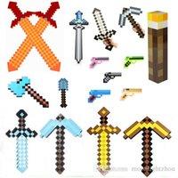 action figure guns - 20pcs Foam Diamond Mosaics EVA Sword Pickaxe Axe Gun shovel torch Combo Set designs weapons Action Figure toys HX