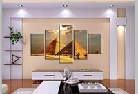 Wholesale Sun Painting Modern Art - 5 Panel Free Shipping Hot Sell Modern Wall Painting Art Paint on Canvas Prints Under the sun the mysterious charm of Egyptian pyramids