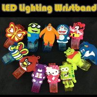 Wholesale 60pcs Cute Carton LED Lighting Wristband PVC Flashing Bracelets for Party Birthday Christmas Halloween Gifts