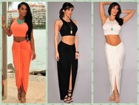 Wholesale 2 Piece Sexy Women Crop Top and Skirt Set Tank Top and Ruched Long Maxi Skirt Set Tops Conjunto cropped e saia Party Casual Beachwear