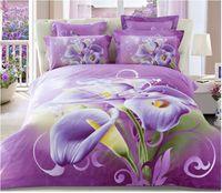 bed-in-a-bag king size - 3D Purple floral bedding comforter sets king queen size duvet cover bedspread bed in a bag brand bedclothes sheet bedsheets quilt linen