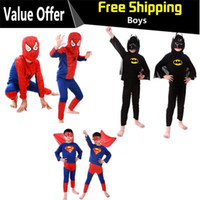 batman costumes for sale - Spiderman Batman Children Party Cosplay Costumes Halloween Gift For Girls Boys Clothes Children s Set Children s Clothing Set Hot Sale