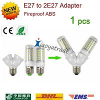 Wholesale 1Pcs Fireproof Material E27 to E27 lamp Holder Converter Socket Conversion light Bulb Base type E27 Y Shape Splitter Adapter