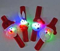 Wholesale Christmas ornaments wrist LED pat circle cartoon Santa Claus deer illuminated pops circle bracelet Luminous bracelet toy