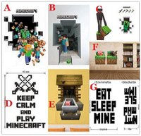 Wholesale 200pcs styles in stock D Walls Minecraft Wall Stickers Creeper Decorative Wall Decal Cartoon Wallpaper Kids Party Decoration Wall