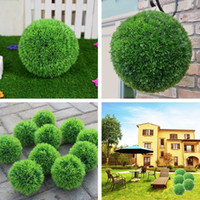 Wholesale 28cm Plastic Conifer Topiary Ball Grass Hanging Boxwood Plant Garden Patio Decor order lt no track