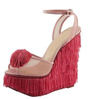 Cheap Handamde Tassel Women Sandal 2015 Wedges Red White Tassel Ladies Punk Soft Leather PVC Women Shoes Plus Size Pumps (Made-to-order)