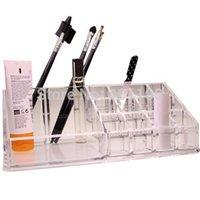 acrylic cosmetic display - 2015 Household Grid Cosmetic Makeup Nail Polish Acrylic Display Stand Rack Holder Organizer Lipstick Frame Stage Nail Tool Nail Art F0271