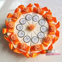 Wholesale 100Pcs Orange Color Paper Gift Box Lovely Cake Candy Box Gift Package Wedding Favors Holders
