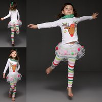 Wholesale Baby Kids Clothing Girls legging Christmas princess party dress stripe tutu bow Outfits Long Sleeve Xmas dresses